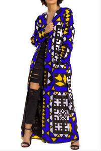 Womens-Blue-Geometric-Kimono-Cardigan-Open-Front-Long-Sleeve-Maxi-Jacket-Large