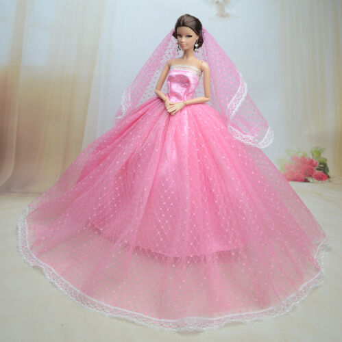 Pink Fashion Royalty Princess Dress//Clothes//Gown+Veil For 11.5in.Doll S180A