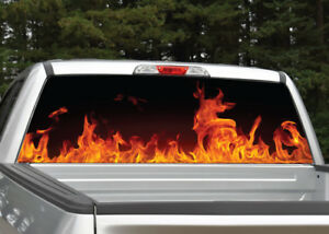 Image Is Loading Fire Flames Red Orange Rear Window Decal Graphic
