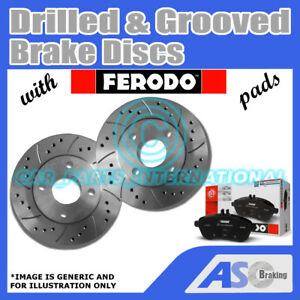 Drilled-amp-Grooved-5-Stud-344mm-Vented-Brake-Discs-D-G-2236-with-Ferodo-Pads