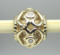 Authentic Pandora 750466d 14k Gold Open Heart With Diamond Bead