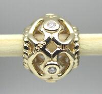 Authentic Pandora 750466d 14k Gold Open Heart With Diamond Bead