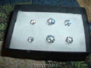 Diamonique-Sterling-Silver-Set-of-3-Round-Stud-Earrings
