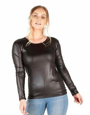 New Women/'s Ladies Scoop Neck Turn Up Sleeve PVC Wet Look Top