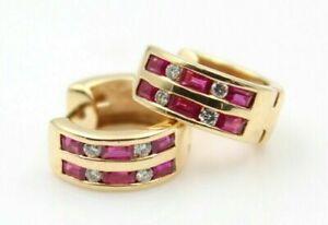 Beautiful-1-16Ct-Red-Ruby-amp-Diamond-14K-Yellow-Gold-Over-Huggie-Hoop-Earrings
