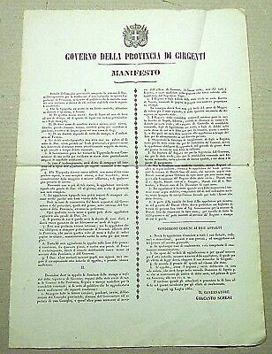 """29 Luglio 1861 It Arredamento D'antiquariato Arte E Antiquariato Manifesto Originale Del """"governo Della Provincia Di Girgenti"""""""