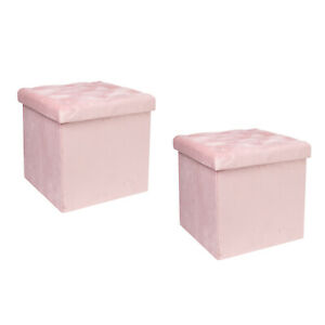 Storage Ottoman Cube, Velvet Tufted Folding Ottomans with Lid, Footstool Rest Pa
