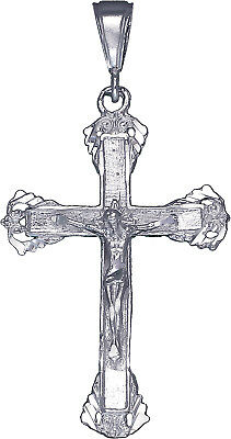 """925 Sterling Silver Crucifix Cross with Jesus Pendant Necklace 24/"""" Figaro Chain"""