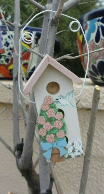 Birdhouse Ornament Bird House Flowers Easter Spring Hanging Decoration Roses Bow Ebay