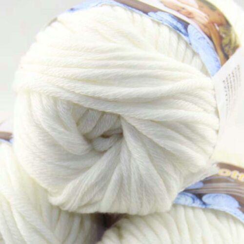Venta 1 skeinx 50g mano de algodón grueso hilo de ganchillo suave especial 02 Blanco Apagado