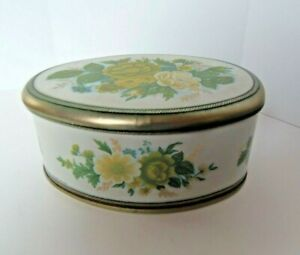 "Vintage Oval Yellow Green Blue Floral Tin ""Meister"" made in BRAZIL"
