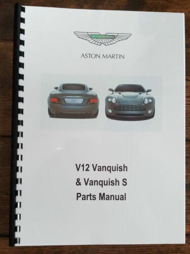 Aston Martin V12 Vanquish /& S 01-07 Pièces Manuel Réimpression A4 Peigne Bound