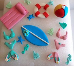 Image Is Loading EDIBLE Summer CUPCAKE TOPPERS Beach Cake Decorations POOL