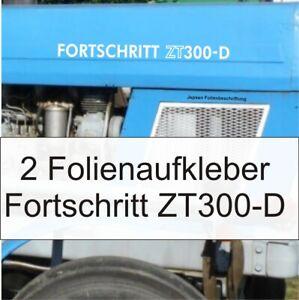 2-Folien-Aufkleber-Schlepper-Fortschritt-ZT-300-D-in-weiss-hochglanz