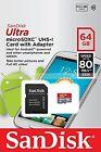 SanDisk Micro SD XC 64GB 64G Ultra 80MB/SEC Class 10 C10 U1 UHS1 Card w Adapter