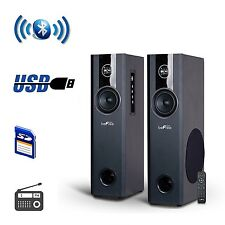 BLUETOOTH BeFree SOUND TOWER SPEAKERS with USB/SD/FM OPTICAL INPUT REMOTE BLACK