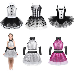Girls-Kids-Modern-Jazz-Dancewear-Sparkly-Tutu-Dance-Leotard-Ballet-Dress-Costume