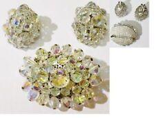 parure bijou vintage perle cristal boréalis broche boucle d'oreilles clips *4937