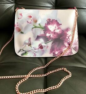 ca7cd97759ca Details about Ted Baker Cailey Ethereal Posie Pink Floral Cross Body Bag  With Rose Gold Chain