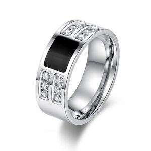 Men's Silver & Black Titanium Steel Crystal Rings ...