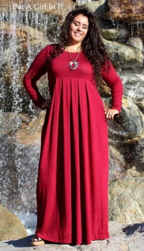PLUS SIZE Womens ROYAL BLUE VISCOSE PLEATED LONG MAXI DRESS POCKETS 1X 2X 3X