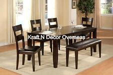 Contemporary Dining Set with 4 Chairs and 1 Bench of Wood in Brown Colour