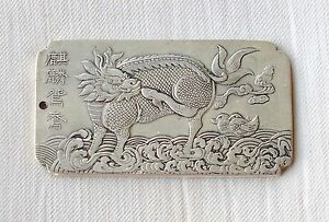China-750-Silver-stamped-amulet-thanka-token-Kylin-Qilin-end-19th-C