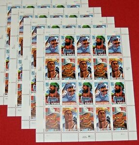 Four Sheets x 20 = 80 Of FOLK HEROES 32¢ US PS Postage Stamps. Scott # 3083-3086