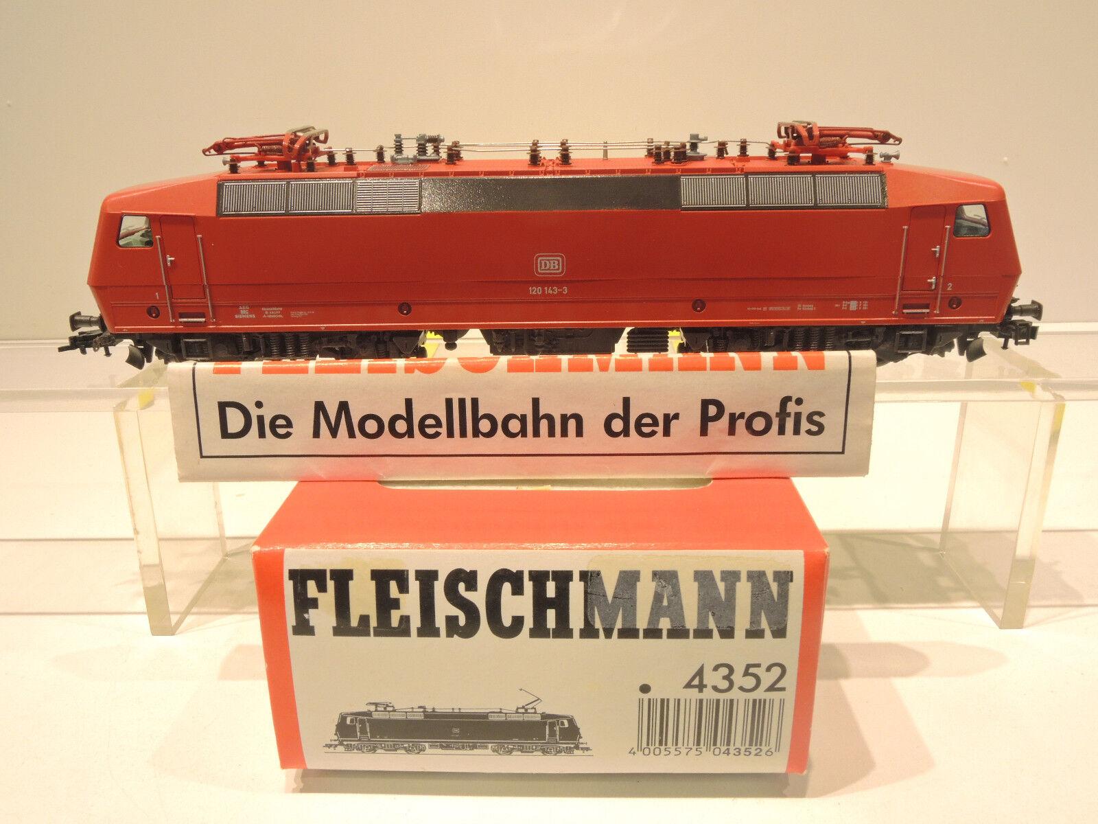 Fleischmann 4352 E-Lok BR 120 143-3 delle DB, rosso, molto ben conservato istruzioni OVP