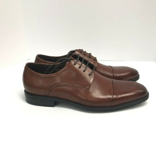 Asher Green Men/'s Tan Genuine Leather Oxford Shoes Perforations Smooth Cap Toe