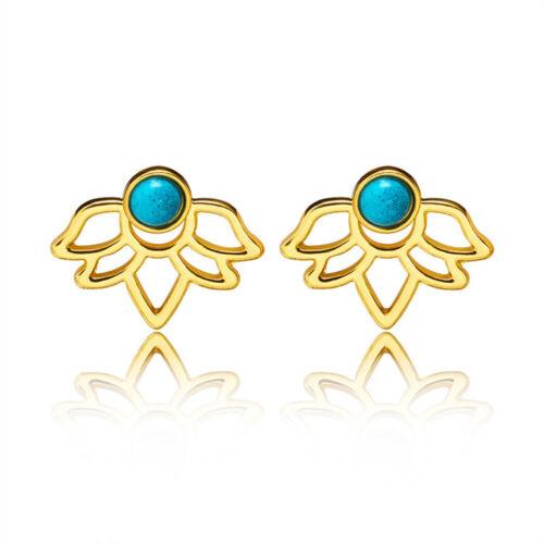 Women Fashion Turquoise Fleur de Lotus forme Boucles d/'oreilles clous creux élégant NEUF
