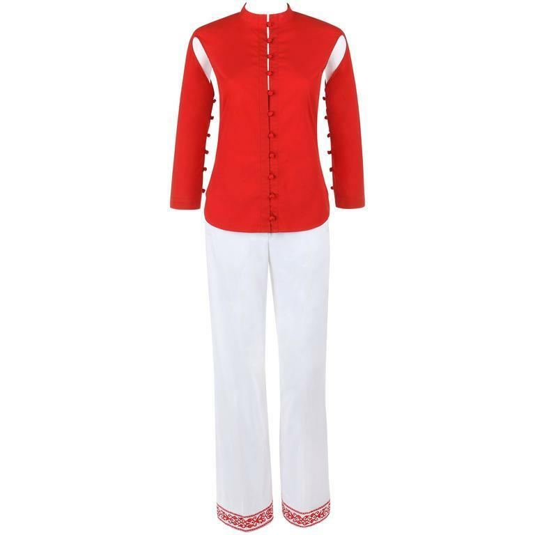 ALEXANDER McQUEEN S S 2000  Eye  2 Pc Red Cutout Top White Embroidered Pants Set