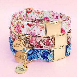 Floral-Pet-Dog-Cat-Collars-amp-Personalised-Name-ID-Tag-Engraved-Small-Medium-Large
