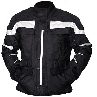 New Mens Black Grey Motorcycle Jacket Textile CE Armoured Motorbike Waterproof