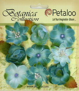 Botanica-BABY-BLOSSOMS-TEAL-Blossoms-amp-Leaves-FABRIC-9-flowers-28-30mm-Pet-A