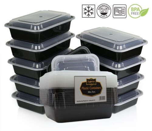Meal Prep Food Containers Plastic Compartment Microwave Safe BPA Free 10 Pcs