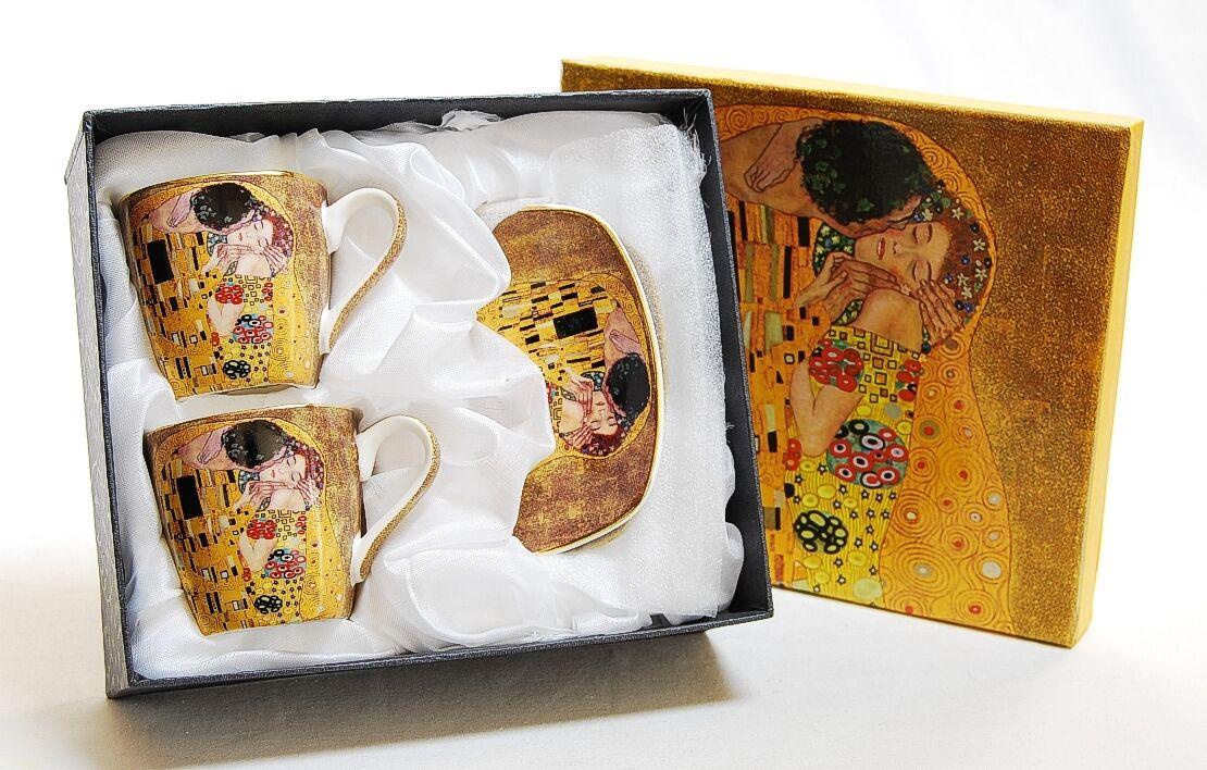 2 espresso tasses de café tasses Gustav Klimt  LE BISOU  the Kiss  LE BAISIER