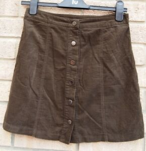 7d8b6e7622 NEW LOOK TAUPE BROWN CORDUROY BUTTONED A LINE WINTER KHAKI MINI SEXY ...