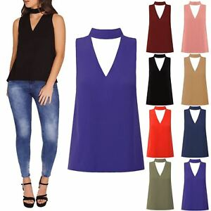 b21ada08 Ladies Womens Sleeveless Cut Out Collar Choker Neck V Plunge Blouse ...