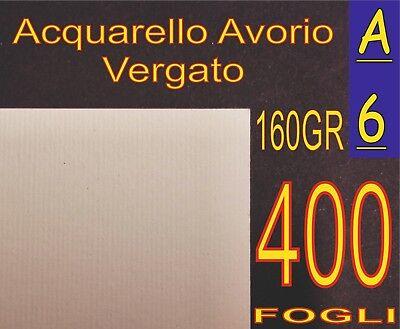 Luminosa 400 Fogli Carta Vergata Acquarello Rustic Avorio X Stampanti Laser- Inkjet A6
