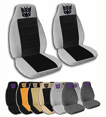 2 Front Decepticon Velvet Seat Covers With 15 Color