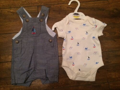 New baby boys ex st dungarees ange ensemble marin 0-3 ans 3-6 9-12 mois