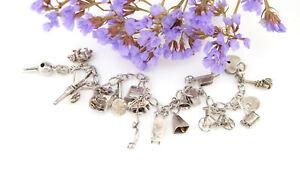 Antique-Sterling-Silver-Vintage-LOADED-Charm-Bracelet-Movable