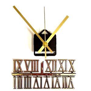 New-Silent-Quartz-Clock-Making-Kit-30mm-Gold-Roman-Numbers-119mm-Gold-Hands