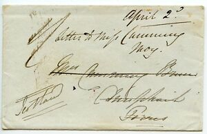 JAMAICA-1843-pre-stamp-cover-pmk-Kingston-to-Forres-silver-seal-Crown-E-amp-K