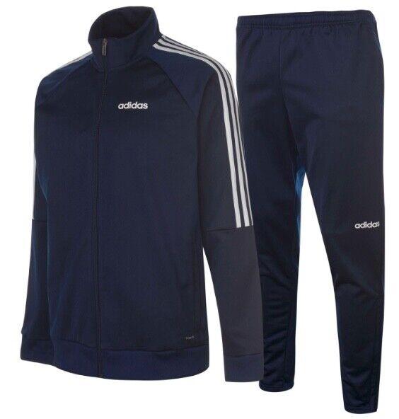 Adidas 3 Stripe Herren Trainingsanzug Tracksuit Jogginganzug Blau Weiß Sport Neu