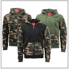 Mens Army Camo Zip Up Hoodie Sherpa Fleece Lining Sweater Jacket