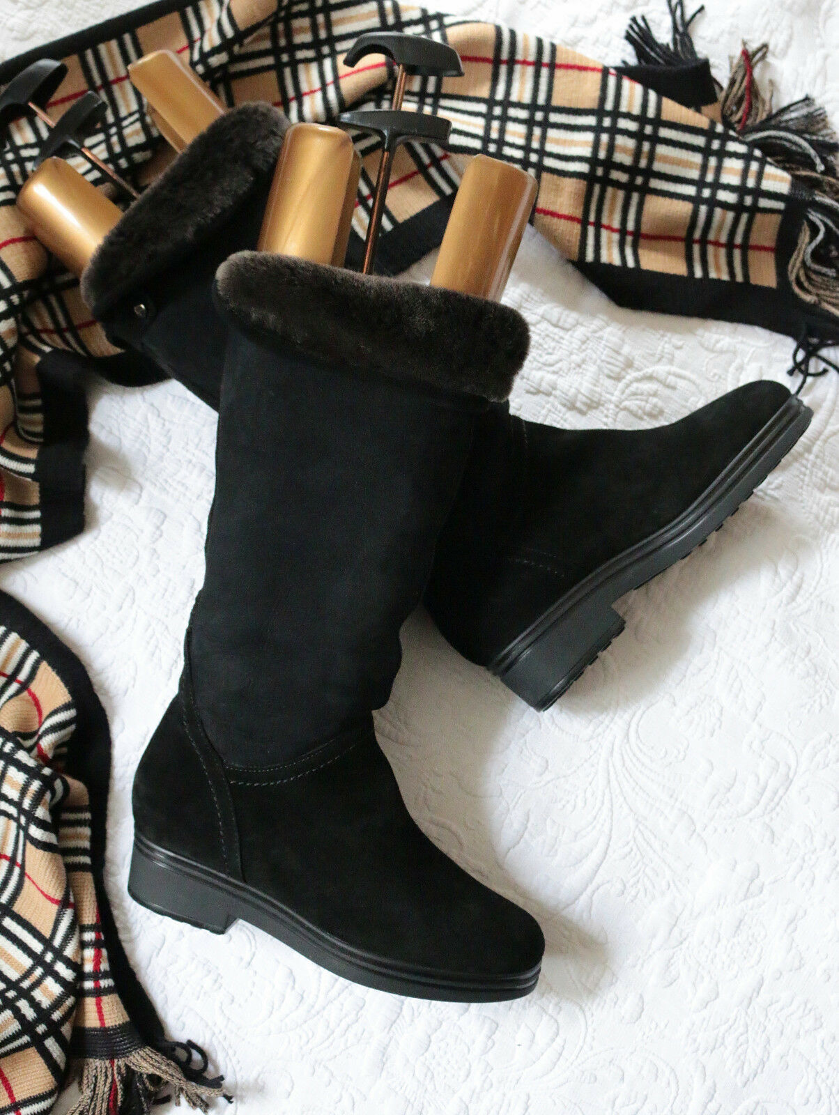 m  italiana de lujo cordero botas Lang caña talla 36 np.450, - como nuevo