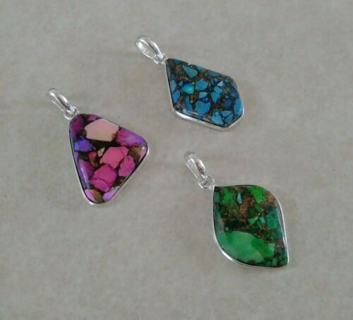 NATURAL COPPER TURQUOISE 925 STERLING SILVER PENDANT NECKLACE CHARM SELECT ONE