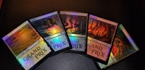 5 Foil Lands Grand Prix 2018 Promo Lands set Sealed MTG